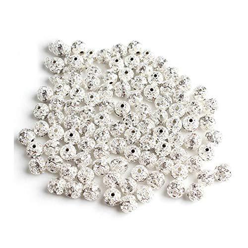 WEIYUE Collar de cuentas sueltas con cristales de imitación chapados en metal (color: plata 8 mm)