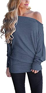 Women's Off Shoulder Tops Casual Loose Shirt Batwing Sleeve Tunics Blouse