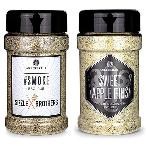 Ankerkraut #Smoke Sizzle Brothers BBQ Rub 210g im Streuer & Sweet Apple Ribs, 240g im Streuer, fruchtiger BBQ-Rub für Spare-Ribs und Schwein