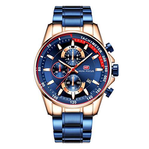 Relojes para hombre multifunción cronógrafo de acero inoxidable resistente al agua fecha analógica cuarzo moda negocios relojes para hombres