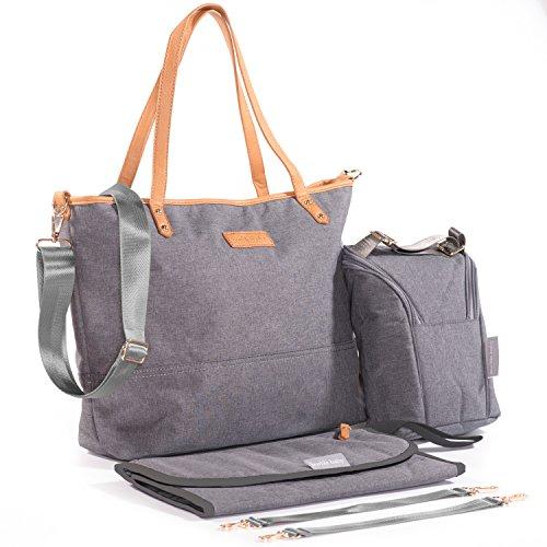 Grand sac cabas à couches avec matelas à langer, sachet de nourriture et sangles de poussette, élégant et pratique pour les mamans