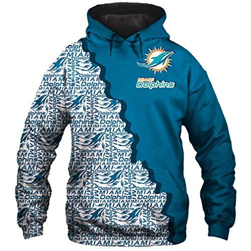 Hanbei Jersey Dolphins Sudaderas con Capucha De La Camiseta Unisex De La Impresión 3D De Fútbol Americano Sudadera con Capucha