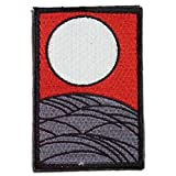 [ ワッペン屋Dongri ] 刺繍 ベルクロ ワッペン パッチ 花札 芒に月 A0355