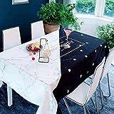 Literatura y Arte nórdicos Mantel a Cuadros de Lino de algodón Puro Mantel de café de Restaurante con Estampado de mármol Blanco y Negro 140x180cm como se Muestra