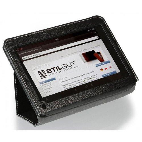 StilGut Executive Case Ledertasche mit Stand- und Präsentationsfunktion für Amazon Kindle Fire, Schwarz