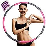 WELLXUNK Fitness Hula Hoop, Perdita Peso Hula Hoop, Hula Hoop in Schiuma 8 Sezioni Rimovibile, Adatto Ai Adulti e Bambini per Esercitare e Perdere Peso(Rosa + Grigio)