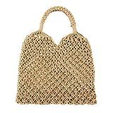 Ayliss Handmade Straw Bag Travel Beach Fishing Net Handbag Shopping Woven Shoulder Bag for Women(Khaki)