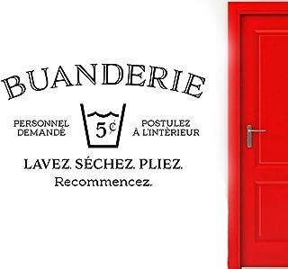 Buanderie Sticker Mural Buanderie Français Sticker Lavage Sec Pli Répéter Signe Porte Décoration Étanche Amovible Papier P...