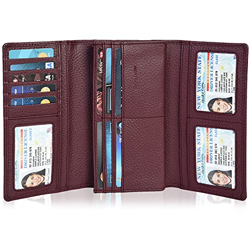 Leather Wallets for Women - RFID Blocking Checkbook Wallet with 11 Card Slots (Plum, 7.6X4X0.8)