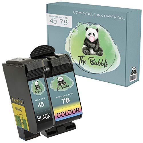 The Bubbli Original | 339 344 Remanufacturado Cartucho de Tinta Compatible para HP Deskjet 5740 6940 9800 6980 5940 6540 Photosmart 8750 2710 D5160 B8350 2575 8050 Officejet 7410 (NEGRO/COLOR, 2-PACK)
