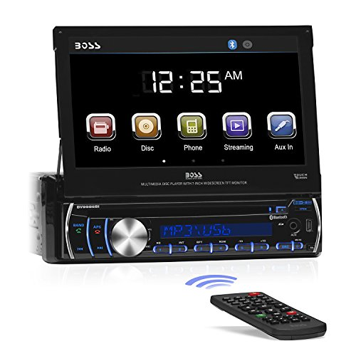 BOSS Audio BV9986BI - In-Dash, Single DIN, Bluetooth, DVD/CD/MP3/USB/SD AM/FM Receiver, Motorized 7
