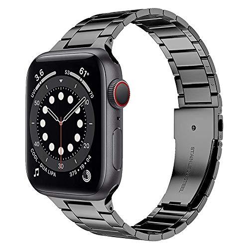 TaiWang Serie Compatible Apple Serie 6 Band Serie, [Ultra Delgada] Banda Ajustable de Acero Inoxidable para la Serie SE de Apple Watch SE 38mm 40 mm (Negro),Space Gray,1.4/1.7 Inches