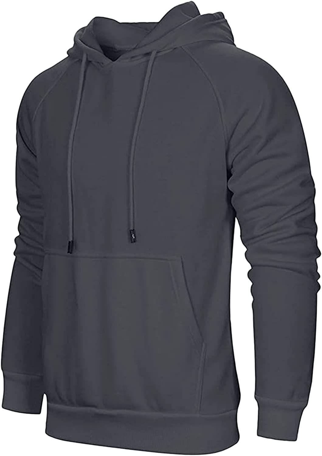 XXBR Hooded Sweatshirts for Mens, Fall Long Sleeve Casual Loose Hoodies Fashion Slim Fit Drawstring Solid Pullover Tops