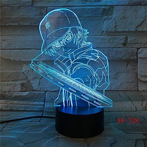 Solo 1 pieza 3D Led Vision Anime Luffy modelado luz nocturna Usb lámpara de mesa de una pieza 7 colores cambiantes decoración del hogar accesorios de iluminación