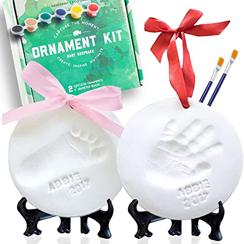 Little Hippo Baby Ornament Keepsake Kit (Newborn Bundle) 2 Easels, 4 Ribbons & Letters! Baby Handprint Kit and Footprint Kit, Clay Casting Kit for Baby Shower Gifts, Boys & Girls