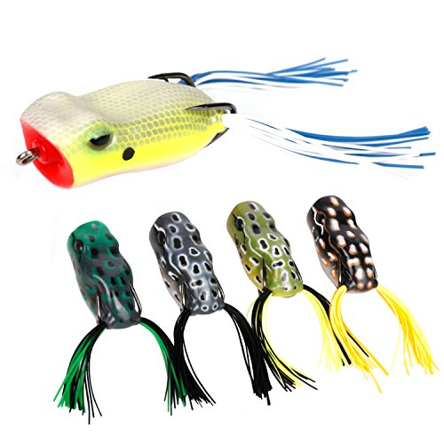 RUNCL Topwater Frog Lures with Twin Skirts, Soft Fishing Lure Kit with Tackle Box for Bass Pike Snakehead Dogfish Musky (Pack of 5)