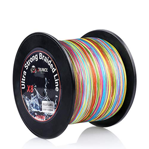 RUNCL Braided Fishing Line with 8 Strands, Fishing Line PE Material 1093Yds/1000M with Multiple...