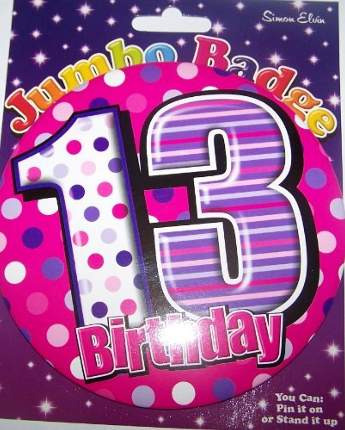 13 years old birthday badge for girl by Simon Elvin