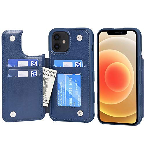 Arae Compatible with iPhone 12 Case and iPhone 12 Pro Case - Wallet Case with PU Leather Card Pockets Back Flip Cover for iPhone 12/12 Pro 6.1 inch - Blue