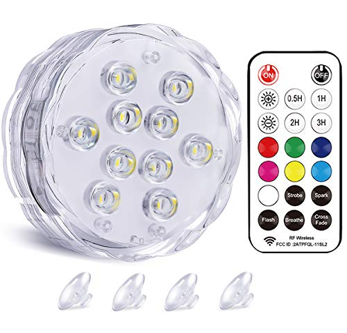 "Qoolife WRGB Magnetic Submersible LED Light - Dual Waterproof Colorful Underwater Light with Suction Cups & RF Remote for Hot Tub Pool Pond Fountain Jacuzzi Bathtub Party Aquarium (3.3"" 1-Pack)"