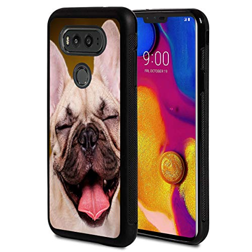 Compatible with LG G6 Case,Happy French Bulldog Puppy Anti-Scratch Shockproof Black Silicone Rubber TPU Protective Case Cover for LG G6 Case/LG G6 Plus 2017 Release