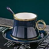 Taza Mug Café Juego De Tazas De Café De Cerámica De Hoja De Oro Simple De Lujo Pequeño, Estilo Mediterráneo, Té De Flores, Té Negro, Taza De La Tarde