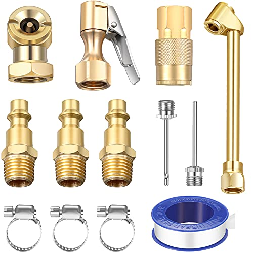 13 Pieces Brass Air Chuck Set Compressor Inflation Kit with 1/4 Inch Closed Ball Air Chuck 1/4 Inch Female NPT Dual Head Air Chuck 1/4 Inch Closed Flow Tire Chuck for Inflator Gauge Compressor