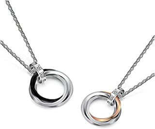 Uloveido Titanium Circle Paired Matching Cubic Zirconia Necklace for Couples Lover's Gift TN053