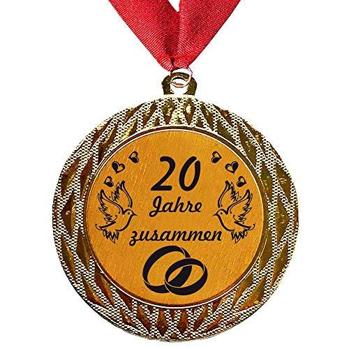 Larius Group Médaille Orden 20 ans ensemble, cadeau de mariage, récompense, ordre, texte souhaité (avec collier)