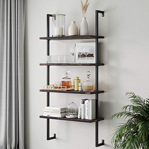 Nathan James Theo 4-Shelf Bookcase, Floating Wall...