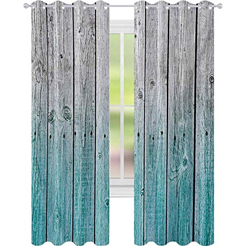 cortinas de la ventana, Paneles de Madera Fondo con Tonos Digitales Efecto Casa de País Imagen de Arte, W52 x L84 Habitación Oscurecimiento Cortina para Sala de Sala, Azul Pálido Gris