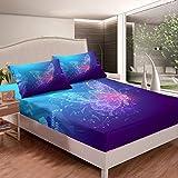 Loussiesd Juego de ropa de cama con diseño de mariposas, sábana bajera ajustable, diseño de mariposas, color azul y morado