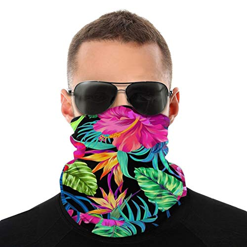 Half Face Mask Bandana Neck Warmer Cover Scarf Wrap Dust-Free Shield Scarf Beanie for Men Women, UV Protection, Cycling, Running - Colorful Palm Leaf Balaclava