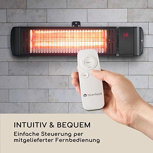 blumfeldt Gold Fever Smart • Infrarot-Heizstrahler • Terrassenheizstrahler • 2000 W • 6 Wärmestufen • Infrarot • Bluetooth • App-Control • bis 20 m² • inkl. Fernbedienung und Wandhalterung • schwarz - 7