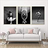 XIANGPEIFBH Schwarz-Weiß-Tänzerin Ballerina Poster und