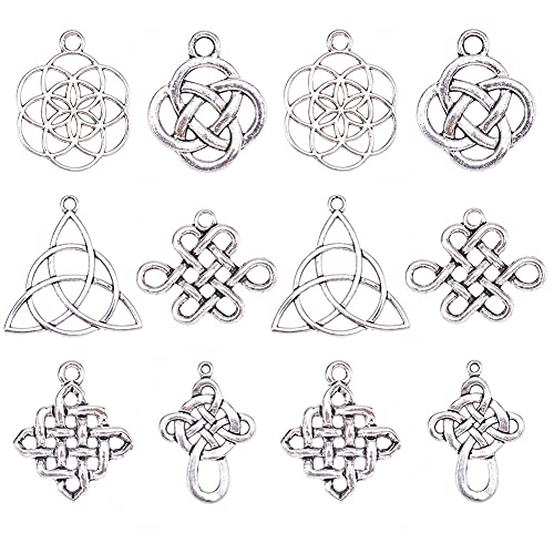 PH PandaHall 60 Pieces 6 Style Celtic Knot Cross Charms Pendants Tibetan Alloy Celtic Beads Charms for DIY Bracelet Necklace Jewelry Making