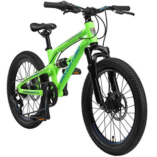 BIKESTAR MTB Mountain Bike Sospensione Completa Alluminio per Bambini 6 Anni | Bicicletta 20 Pollici 7 velocità Shimano, Freni a Disco | Verde