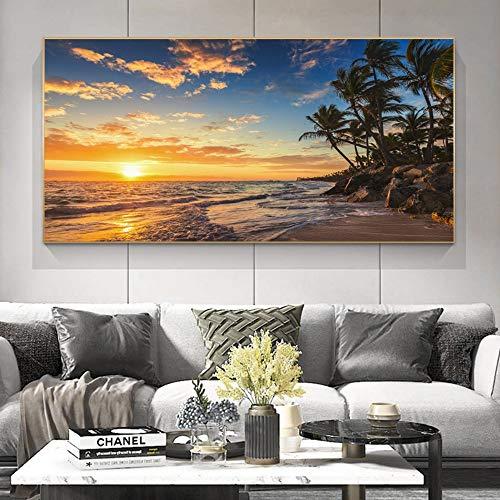 wZUN Sala de Estar con Paisaje de la Naturaleza, póster de Lienzo e impresión, Pintura Mural, Vista al mar, Ola de Playa, Imagen escandinava Moderna 50X100CM