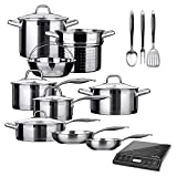 Duxtop Bundle 9100MC 1800W Portable Induction Cooktop, Induction Burner with 17PC Professional Stainless Steel Induction Cookware Set, Impact-bonded Technology