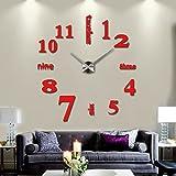 Ceiceili Reloj de Pared 3D con Números Adhesivos DIY Bricolaje Moderno Decoración Adorno para Hogar Habitación (Rojo)