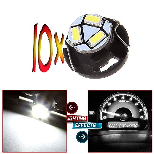 cciyu 10 Pack White T5 Neo Wedge 3 SMD Led Bulbs A/C Climate Control LED Ligh Dash Base Light Lamps 12V T5/T4.7-12mm Base diameter Replacement fit for 2012 Chrysler etc.