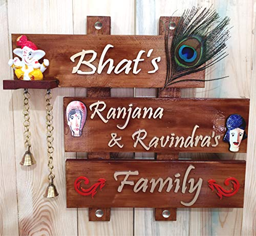 GiftSpot Wood Acrylic Name Plate (12 x 12 inch, Brown)