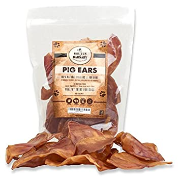 100% Natural Whole Pig Ear Dog Treat Brutus & Barnaby s Healthy Pure Pork Ear is Easily Digestible with no Added Colorings Chemicals or Hormones  12 Count