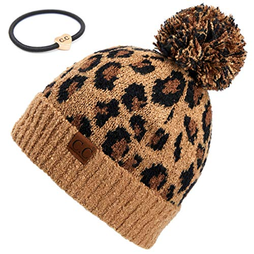 C.C Exclusives Soft Beanie hat with Leopard Pattern and Fur Pom Bundle with C.C Hair Tie (HAT-7001) (A Latte with C.C Ponytail Holder)