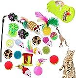 WELLXUNK Juguete Interactivo para Gatos, Set di Juguetes para Gatos Interactivo Ratón, Juguetes para Gatos con Bolas Varita, Juguetes para Gatos con Plumas Túnel (M1)