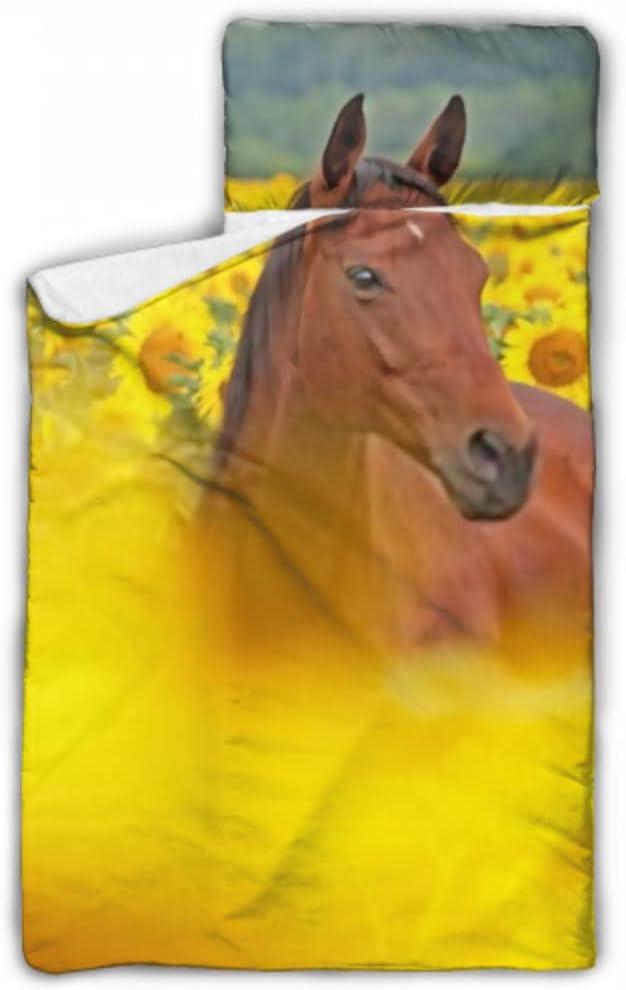 JIUCHUAN Kids Sleeping Bag Portrait On Nice Horse Fiel Max 90% Raleigh Mall OFF Sunflower