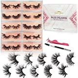 GOO GOO 3D Mink Eyelashes Fake Eyelashes, Dramatics Long Bushy Type 25mm 10 Styles Multipack, Siberian Mink Lashes Hand Made Strips Real Natural Reusable False Eyelashes