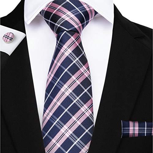 KYDCB 160Cm Länge 8 Styles Plaid Krawatten Gelb Rosa Rot Blau Einstecktuch Manschettenknöpfe Set Herren Seidenkrawatte 8.5Cm Krawatte Hochzeit Bräutigam Crava
