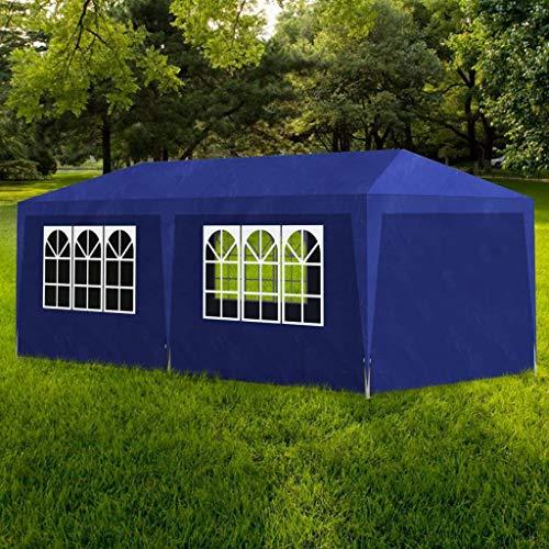 vidaXL Tonnelle Jardin Tente Réception Chapiteau Bleu 3x4 m Terrasse Pavillon