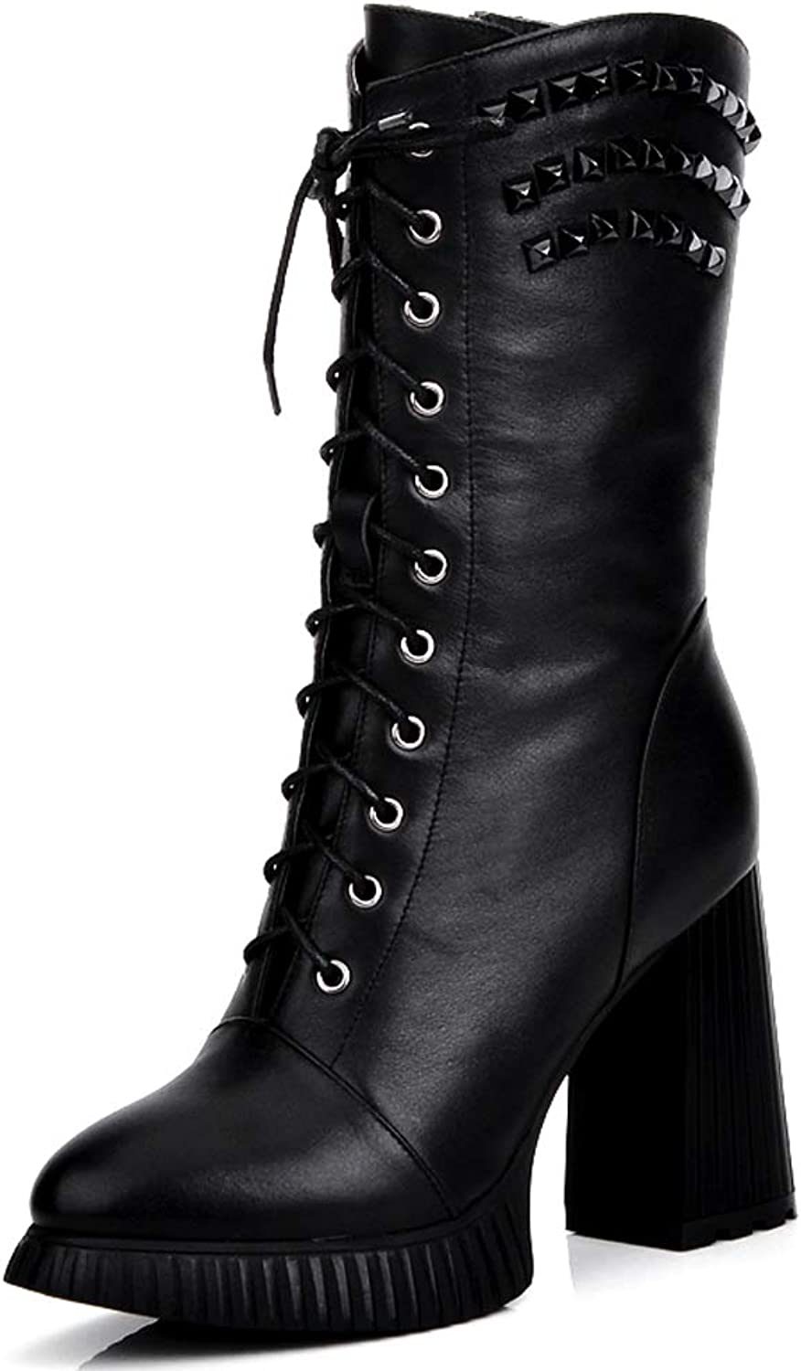 Leather Boots Autumn and Winter Women's Boots in The Tube Motorcycle Boots Women's Boots High-Heeled Martin Boots Thick with The Middle Boots Tied Laces